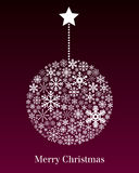 Christmas Ball Greeting Card. A Christmas hanging ball made up of different snowflakes on red background. Useful also as greeting card. Eps file available Royalty Free Stock Photography