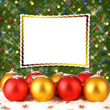Christmas ball with greeting card Stock Photo