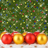 Christmas ball with greeting card Stock Images