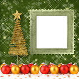 Christmas ball with greeting card Royalty Free Stock Image