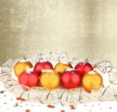 Christmas ball with greeting card Royalty Free Stock Images