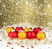 Christmas ball with greeting card Stock Photography