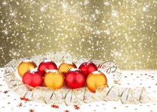 Christmas ball with greeting card on sparkling  background Royalty Free Stock Image
