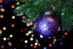 Christmas ball hanging on a Christmas tree branch Royalty Free Stock Photo