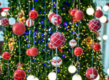 Christmas ball hanging on a Christmas tree with defocused lights. Stock Images