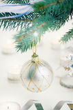 Christmas ball hanging on fir tree Royalty Free Stock Photography
