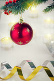 Christmas ball hanging on fir tree Royalty Free Stock Image