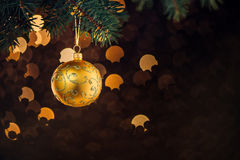 Christmas ball hanging on spruce twig Stock Photos