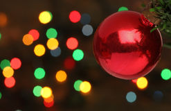 Christmas ball hanging on tree branch Royalty Free Stock Photos