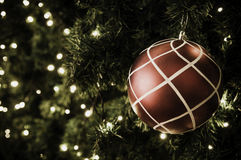 Christmas ball hanging on tree. Royalty Free Stock Images