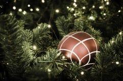 Christmas ball hanging on tree. Royalty Free Stock Photo