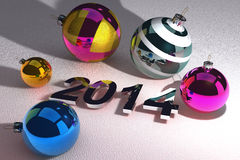 Christmas Ball and 2014 Reflective. Happy New Year 2014 and balls Use in your projects and get good style image vector illustration