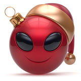 Christmas ball Happy New Year bauble smiley alien face red. Christmas ball Happy New Year's Eve bauble smiley alien face cartoon cute emoticon decoration red Stock Images