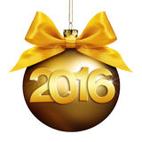 Christmas  ball, happy new year 2016 golden text Stock Photo