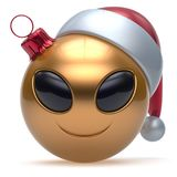 Christmas ball Happy New Year`s Eve bauble smiley alien face. Cartoon cute emoticon decoration gold. Merry Xmas cheerful funny smile Santa hat person character Stock Photos