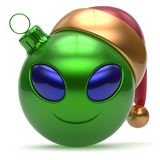 Christmas ball Happy New Year bauble smiley alien face green. Christmas ball Happy New Year`s Eve bauble smiley alien face cartoon cute emoticon decoration green Royalty Free Stock Photos