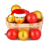 Christmas ball in the hat of Santa Claus Royalty Free Stock Photo