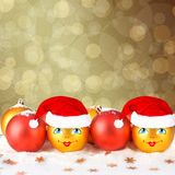Christmas ball in the hat of Santa Claus Royalty Free Stock Photography