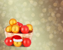 Christmas ball in the hat of Santa Claus Royalty Free Stock Photos