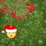 Christmas ball in the hat of Santa Claus Royalty Free Stock Image