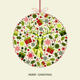 Christmas ball  with head of  reindeer, gifts and  snowflakes. Stock Photography
