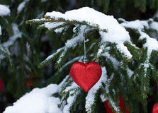 Christmas ball - heart outdoors Royalty Free Stock Photography