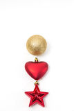 Christmas ball, heart and star Royalty Free Stock Photography