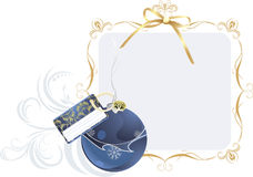 Christmas ball with holiday card in the frame. Christmas ball with holiday card in the decorative frame. Illustration Stock Photography