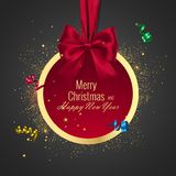 Christmas ball, Holiday round frame. Banner with Red Ribbon and Bow for Happy New Year Royalty Free Stock Photography