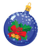 Christmas ball with holly Stock Photography