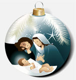 Christmas ball with Holy Family Stock Image