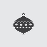 Christmas ball icon in a flat design in black color. Vector illustration eps10 Royalty Free Stock Photos