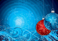 Christmas ball illustration. Illustration in blue, red and white, featuring two ornamental Christmas balls Stock Photography