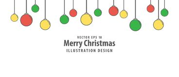 Christmas ball illustration vector flat style on white backgroun. D. Merry christmas concept Royalty Free Stock Image