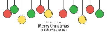 Christmas ball illustration vector flat style on white backgroun. D. Merry christmas concept Stock Images