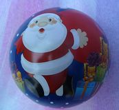Christmas ball, isolated, with father christmas royalty free stock photos