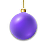 Christmas ball isolated. Merry Christmas 3D ball decoration. Purple glass bauble, isolated on white background. Bright shiny decorative holiday design. symbol Stock Images