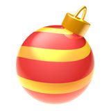 Christmas ball isolated on white background. Glossy striped red and yellow 3D Christmas ball isolated on white background (3D illustration Royalty Free Stock Photography