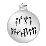 Christmas ball with kids silhouettes. Holding letters with Merry Christmas Stock Image