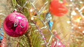 Christmas Ball and led light on Christmas Tree. New Year Decoration stock video