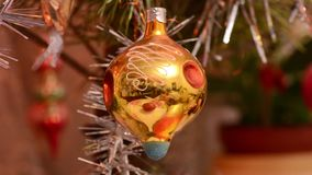 Christmas Ball and led light on Christmas Tree. New Year Decoration stock footage