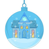 Christmas Ball with a little house Stock Images