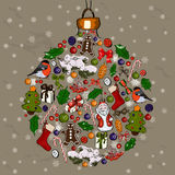Christmas ball made from decorations. Stock Images