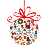 Christmas ball with ornaments Royalty Free Stock Images