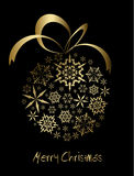 Christmas Ball Made From Golden Snowflakes Stock Photos