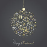 Christmas ball made from gold and silver snowflake. S, holiday card Stock Images