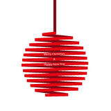 Christmas ball made of red ribbon isolated on white background. Red ribbon with text, banner for New Year and Merry Christmas. Vector illustration for your Stock Image