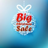 Christmas ball made from snowflakes with Big Sale. Royalty Free Stock Image