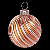 Christmas ball metallic orange golden shiny. New Year`s Eve bauble royalty free illustration