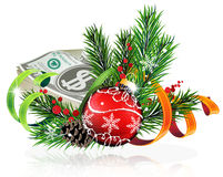 Christmas ball with money Stock Images